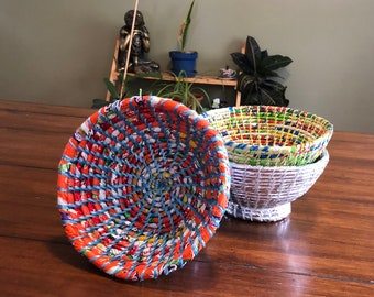 Woven Bowl from Recycled Plastic - Recycled Plastic Bowl - Repurposed Plastic Catch All - Handcrafted Nepal - Eco Friendly Home Decor