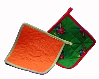 Buddha Hot Pads - Colorful Pot Holder - Handcrafted Hot Pad Nepal - Eco Friendly Kitchen Decor
