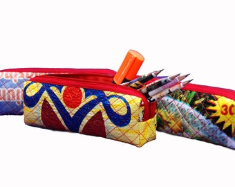 Handcrafted Pen Case - Recycled Pencil Bag- Zipper Pouch- Fair Trade - Gift