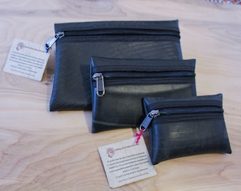 Recycled Tire Purse - Repurposed Tire Zipper Pouch - Eco Friendly Wallet - Sustainable Gift