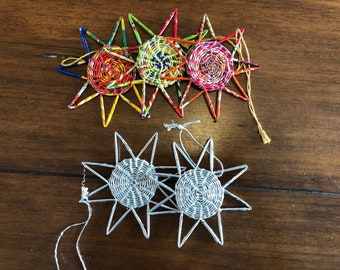 Handcrafted Star Ornaments - Star Ornaments - Recycled Plastic Ornaments - Fair Trade - Handmade