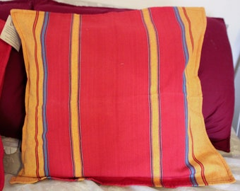 Boho Striped Color Block Pillow Cover - Kantha Fabric Throw Pillow - Nepal Fair Trade - Handmade Housewarming Gift