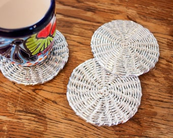 Woven Coasters from Recycled Plastic - Set of 6 Recycled Plastic Coasters with Box - Repurposed Upcycled Eco Friendly