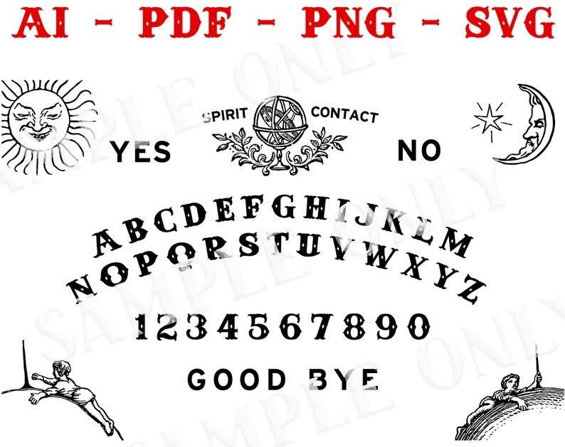 Printable Spirit Board / Ouija Template - pdf, svg, png, ai