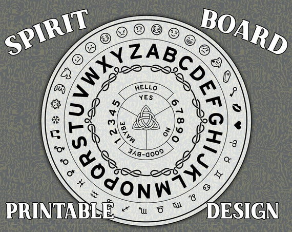 picture about Printable Ouija Board titled Printable Ouija Board or Spirit Circle layout with Emojis!