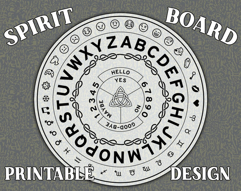 photo relating to Pendulum Board Printable titled Printable Ouija Board or Spirit Circle design and style with Emojis!