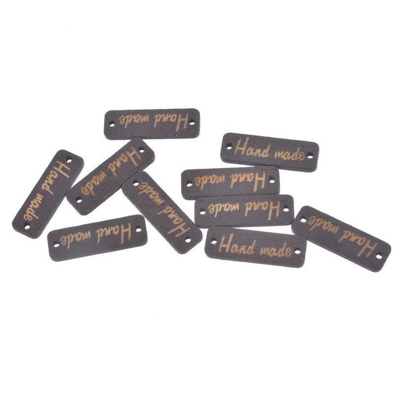 10 Dyed Wooden Hand Made Tag Buttons