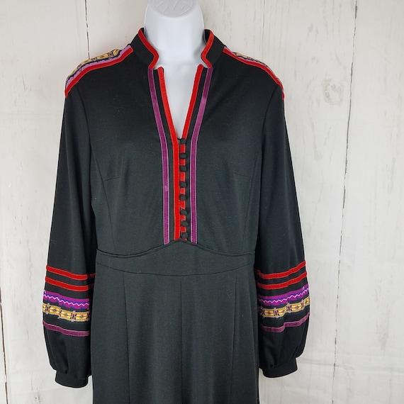 Vintage 1970s Black Midi Empire Dress Modest Cotto