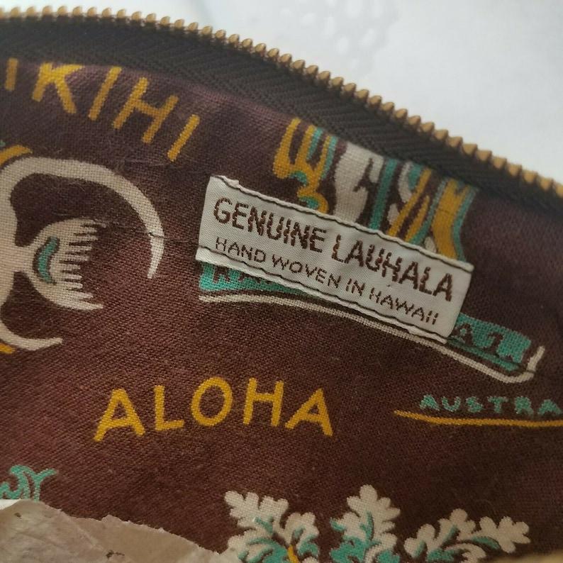 Lauhala Hand Woven Small Clutch Purse Bag Hawaii Tribal Tiki Print Vintage 50/'s 1960s