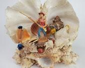 Vintage Decorative Seashell Coral Folk Art Diorama Souvenir Sculpture Pacific Islander Fisherman Figure