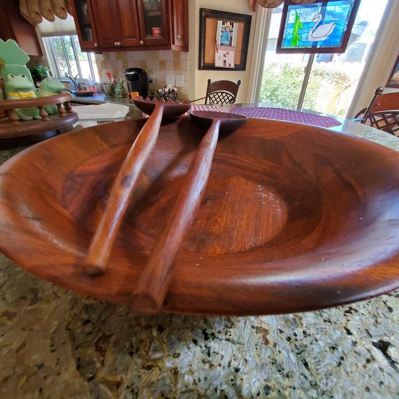 vintage Hand Turned Wood Burl Walnut Bowl Fork Spoon Salad Server Set Billings Missouri