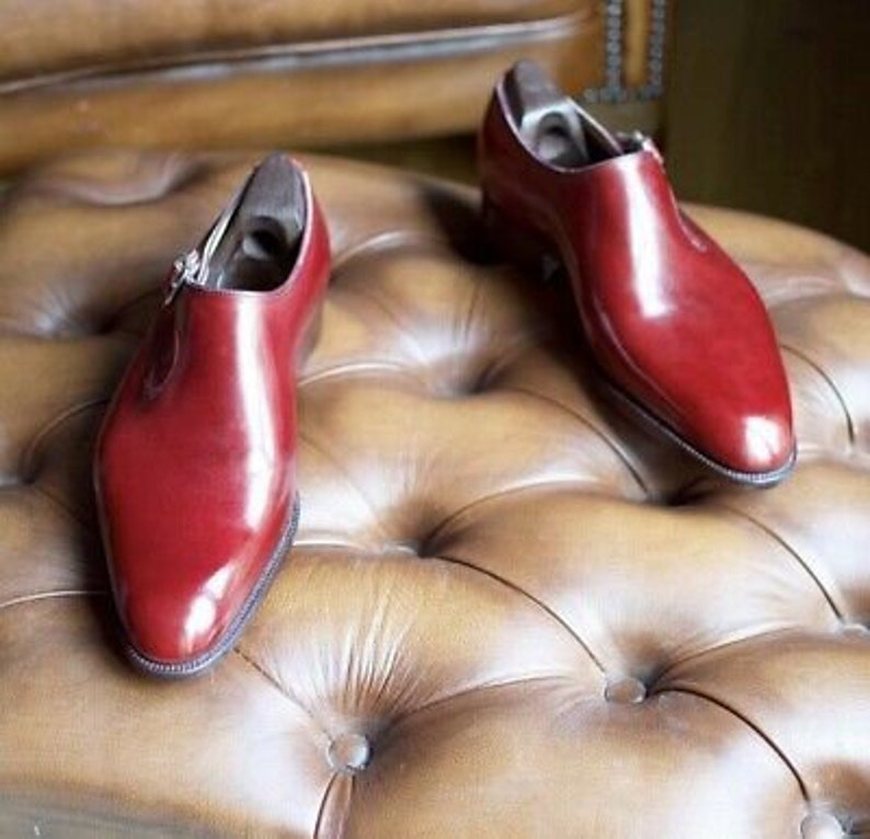 New Pure Handmade Red Leather Monk Strap Shoes For Men/'s