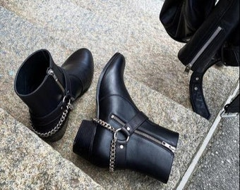 New Handmade Black Leather Stylish Motorcycle Zip Fastening Boots for Men's