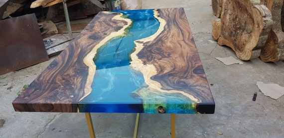 Blue River Table Top With Epoxy Inlay Senna Siamea Wood Epoxy Etsy