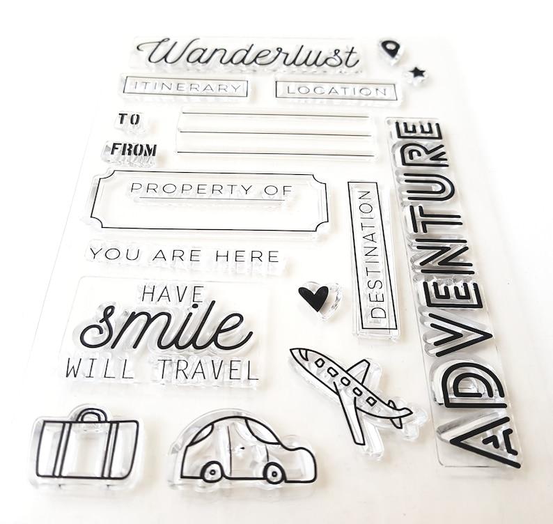 Plane Travelers Notebook Card making Planner stamp Discover Scrapbook Car Wanderlust Clear Stamps Bullet Journal Travel Adventure