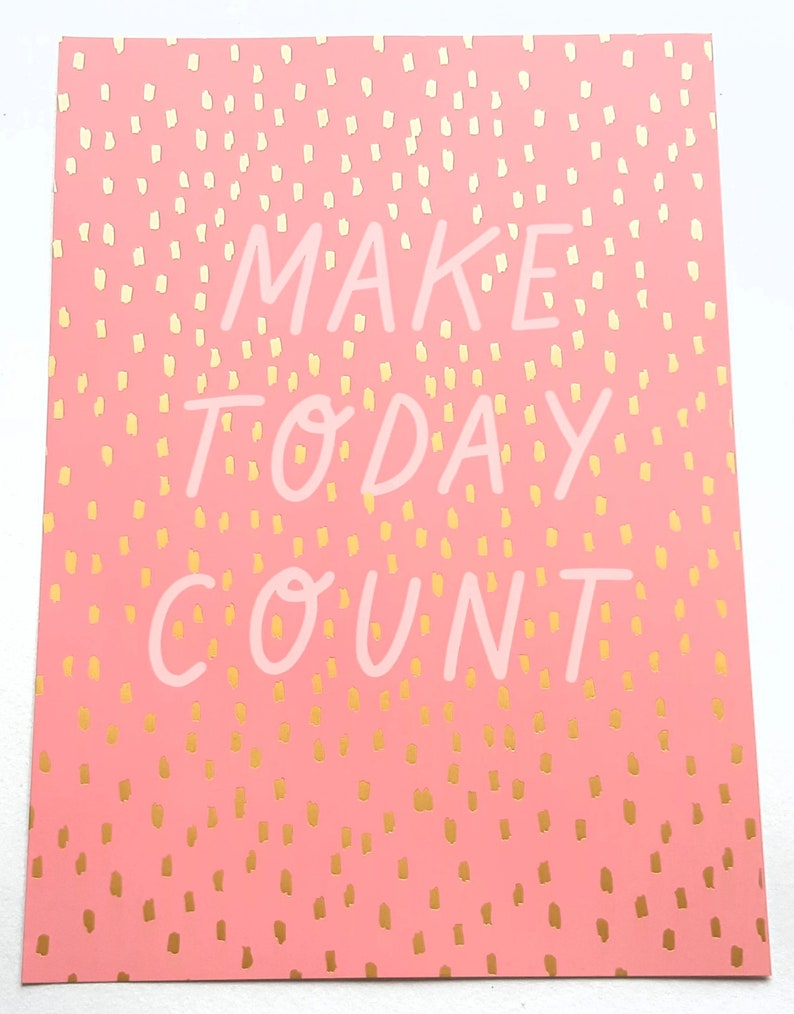 motivational cards  posters with gold foil details Pastel Christmas gift idea Encouragement cards Set of 5 large Pink A4