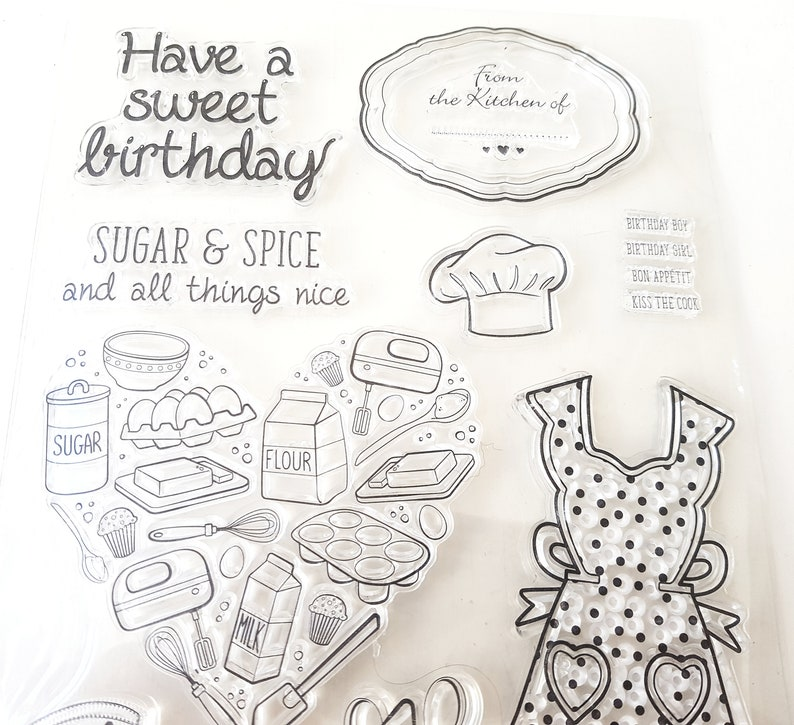 Bullet Journal stamps Food Large sheet Lovely Baking Clear stamps Sweet planner stamp Sugar /& Spice Heart stamps for Card making