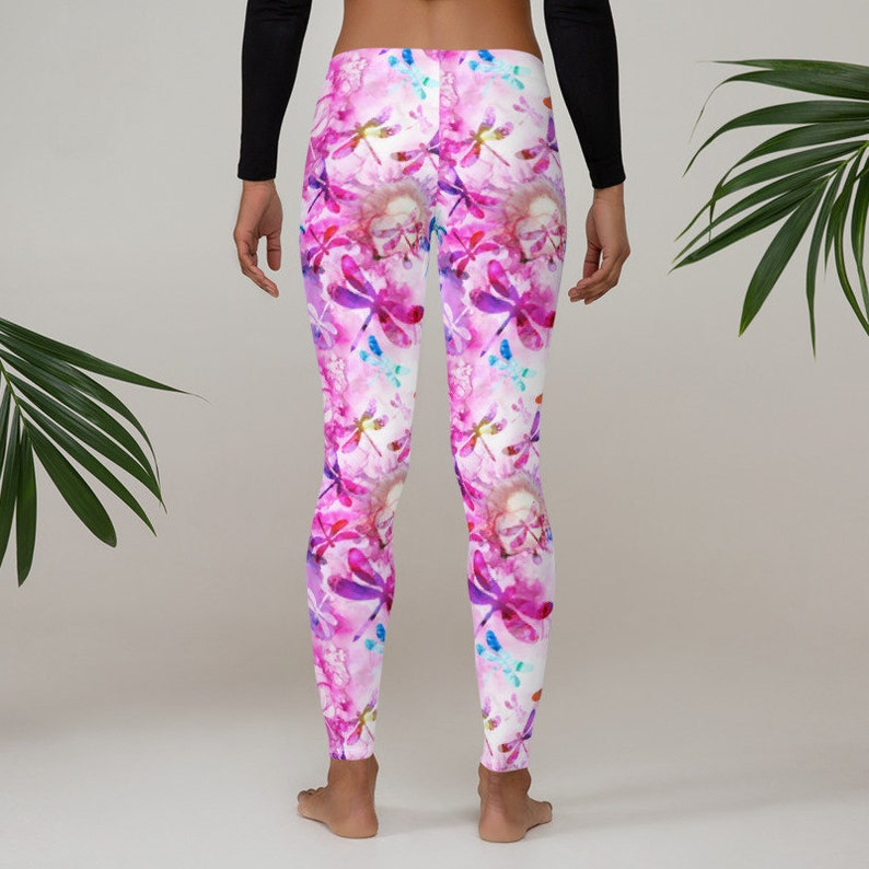 Women Gym Leggings with Pink and Blue Garden Pattern Yoga Workout Leggings Fancy Comfy Exercise  Fitness Sportswear