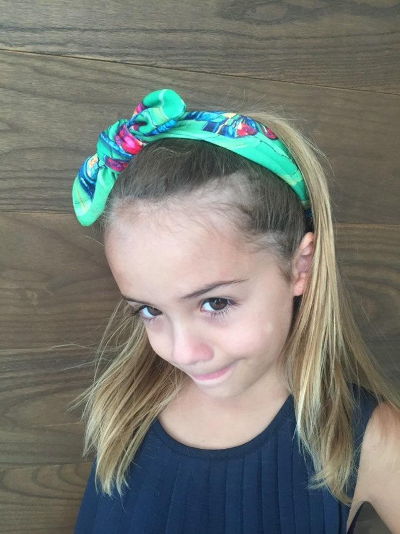 Girls Bow Headband  exclusive prints  green headband amazing watercolors  dragonfly headband Toddler Girl Hair Accessories