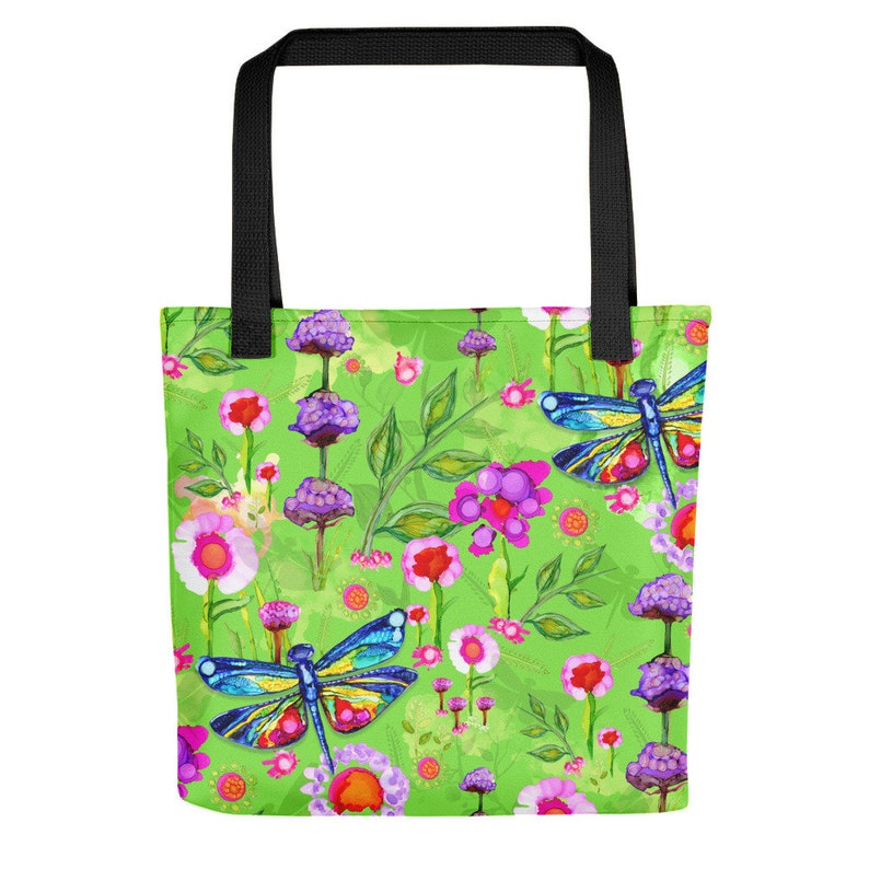 Dragonfly Tote Bags for Women Colorful Bags Watercolor Tote Purse Bag Tote Dragonfly Wearable Art Lullaby Tropical Green Purse