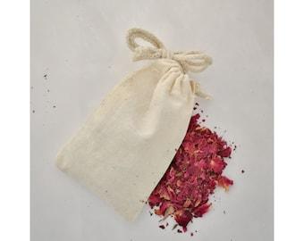 Organic Cotton Drawstring Bag, Cotton Pouch, Organic Cotton Tea Bag, Herbal Tea Bag, 3 x 5 inches
