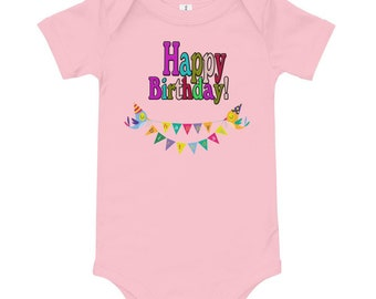 Happy Birthday Daddy Baby Bodysuit Present Grow Body Vest Shirt Cute