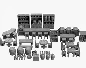 Tavern Bar DnD Miniature Terrain, Dungeons and Dragons, D&D, Pathfinder, Scatter, Wargaming, Tabletop, 28mm, 32mm
