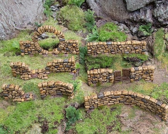 Hagglethorn Hollow Stone Walls DnD Miniature Terrain for Dungeons and Dragons, D&D, D and D, Wargaming, Tabletop