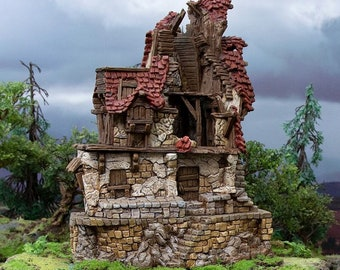 Hagglethorn Hollow Ruined Hunters Lodge DnD Miniature Terrain for Dungeons and Dragons, D&D, D and D, Wargaming, Tabletop, Wargaming