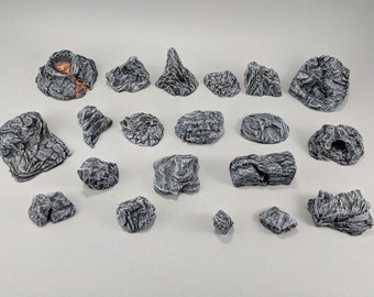Dungeon Rock Outcroppings DnD Miniature Terrain, Dungeons and Dragons, D&D, Wargaming, Wargaming, Pathfinder, Tabletop, 28mm, Scatter