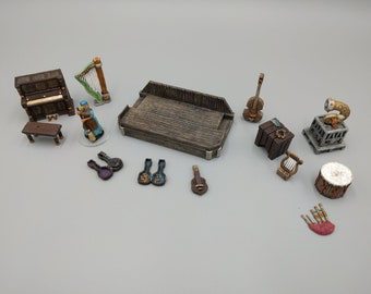 Tavern Music Instruments and Sound DnD Terrain Miniature | Dungeons and Dragons, D&D, Tabletop, Scatter, Pathfinder, 28mm