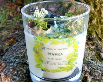 MAVKA~Large 12oz~Elemental~Earth Magick~Tree Nymph~All-Natural Soy/Beeswax Candle~Ritual/Altar Candle~Cedarwood-Birch-Lavender-Chamomile