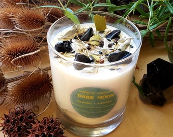 DARK MOON~Large 12oz~Cleansing~Banishing Spell~Protection spell~Esbat Candle~Altar/Ritual Candle~All-Natural~Sage-Rosemary