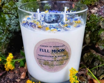 FULL MOON~Large 12oz~Esbat Ritual Candle~Success spell~Gemstone Infused~All-Natural~Soy-Beeswax~Lemongrass-Lavender~Altar candle
