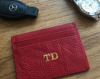LEATHER CARD HOLDER for men Red soft lychee leather personalised with  monogram initials new gift silver or gold hotstamp foil unisex 8f8836049f455