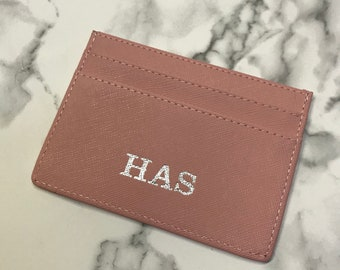 PINK SAFFIANO LEATHER card holder personalised with monogram initials new  gift silver or gold hotstamp foil 6b33288e3373f