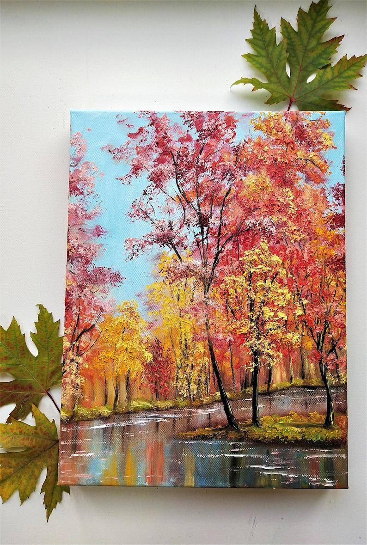 Fall Tree Painting Original Artwork Oil Painting on Canvas   12 by 16 by Oksana Stepanova