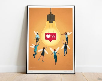 Mad About Likes ART PRINT, Poster, Signed, Limited Edition, Social Issues, Social Media, Likes, Technology, Facebook ,Instagram, Tik Tok