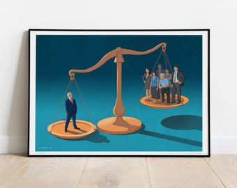 Corporate Justice ART PRINT, Poster, Signed, Limited Edition, Social Issues, Capitalism, Poverty, Inequality, Justice, Job, Scale
