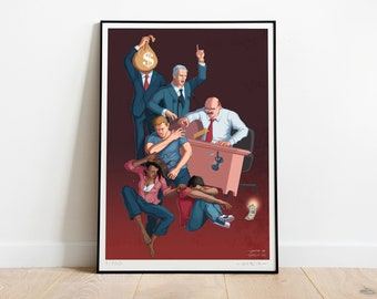 Cycle of Violence ART PRINT, Poster, Signed, Limited Edition, Social Issues, Woman, Racism, Boss, Money, Politician, Kid, Child, Scream, Red