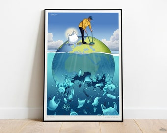 Clean the Planet ART PRINT, Poster, Signed, Limited Edition, Social Issues, Environment, Climate Change, Earth, Plastic, Water, Pollution