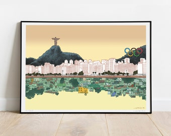 Inequality ART PRINT, Poster, Signed, Limited Edition, Social Issues, Poverty, Favela, Slums, Capitalism, Sky, Sea, Brazil, Beach, Travel
