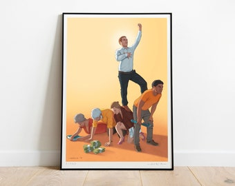 A Successful Man ART PRINT, Poster, Signed, Limited Edition, Social Issues, Success, Family, Money, CEO, Women, Rich, Work, Capitalism