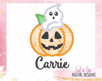 Halloween Ghost Pumpkin Smiling face Pumpkin Machine Embroidery Applique Design HL0155