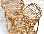Vintage Wicker Peacock Chair. Mini Peacock Chair. Plant Stand. Boho Chair. Boho Home. Bohemian Decor. Doll Chair.