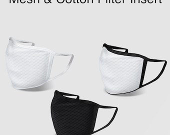 Mesh & Cotton Comfortable Cool Washable Reusable 2 Layers Face Mask with Filter Insert Pocket