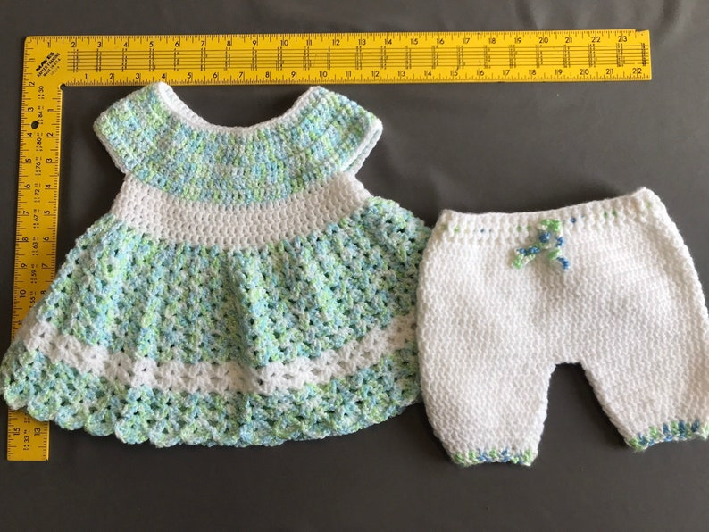 Light Teal Crochet Baby Dress with Pant