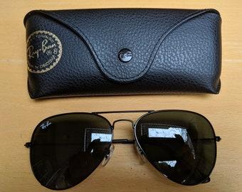 Classique Ray-Ban Aviator lunettes de soleil cadre noir Lens G-15 RB3025  L02823 85ac763a79a5