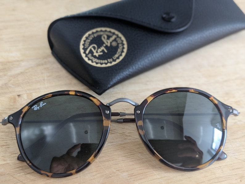 ff9b44e90 Ray-Ban Sunglasses Round Fleek Tortoise Sunglasses | Etsy