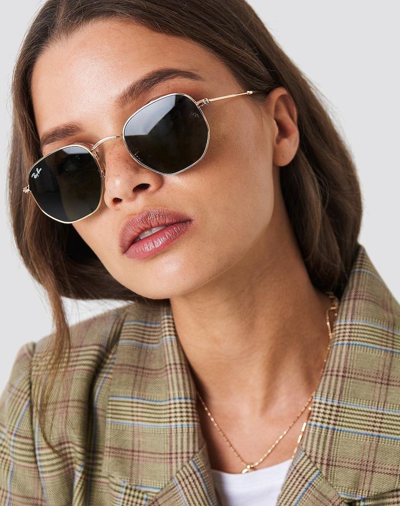 ray ban rose gold hexagon sunglasses
